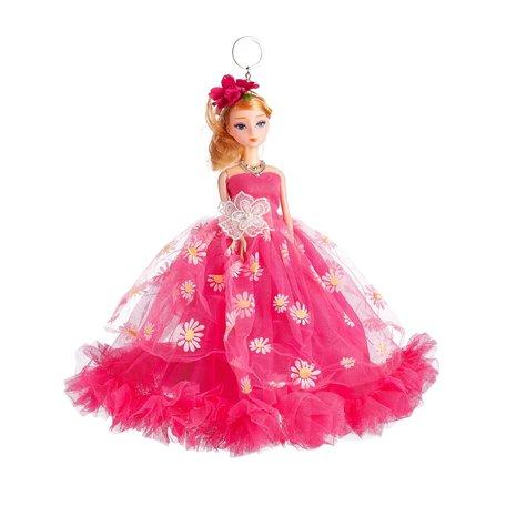 Sleutelhanger - Prinses met Bruidsjurk met een strik & Bloemetjes - 27 cm - Donker Roze