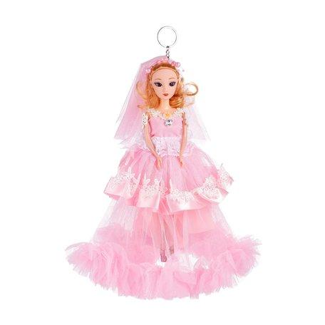 Sleutelhanger - Prinses met Bruidsjurk & een Zirkonia Steen - 27 cm - Roze