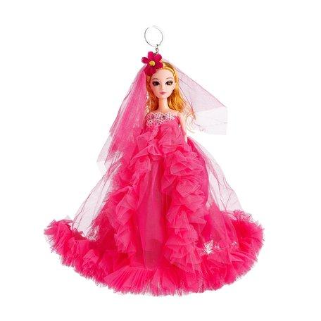 Sleutelhanger - Prinses met Bruidsjurk & een strikje - 27 cm - Roze