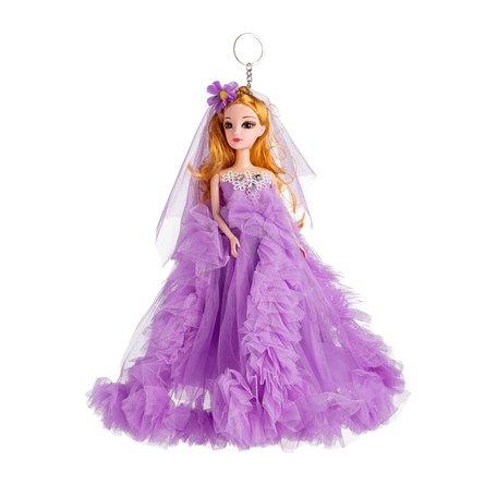 Sleutelhanger - Prinses met Bruidsjurk & een strikje - 27 cm - Paars