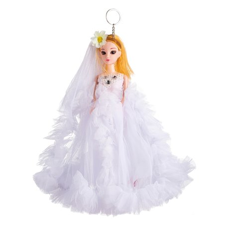 Sleutelhanger - Prinses met Bruidsjurk & een strikje - 27 cm - Wit