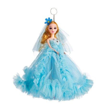 Sleutelhanger - Prinses met Bruidsjurk & een strikje - 27 cm - Blauw