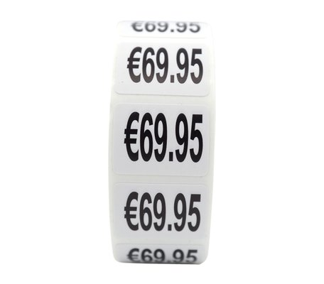 Prijs stickers €69,95 500 stk - 2 cm Breed x 1,5 cm Hoog