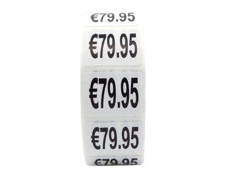 Prijs stickers €79,95 500 stk - 2 cm Breed x 1,5 cm Hoog