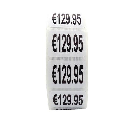 Prijs stickers €129,95 500 stk - 2 cm Breed x 1,5 cm Hoog