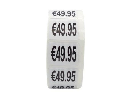 Prijs stickers €49,95 500 stk - 2 cm Breed x 1,5 cm Hoog