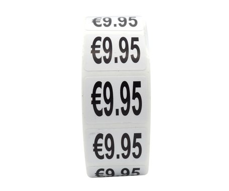 Prijs stickers €9,95 500 stk - 2 cm Breed x 1,5 cm Hoog