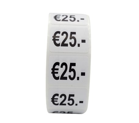 Prijs stickers €25 500 stk - 2 cm Breed x 1,5 cm Hoog