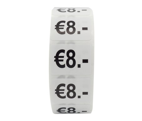 Prijs stickers €8 500 stk - 2 cm Breed x 1,5 cm Hoog
