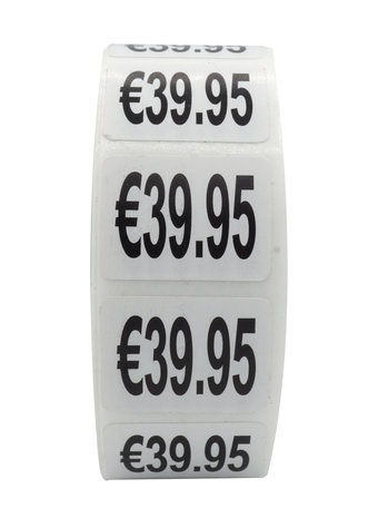 Prijs stickers €39,95 500 stk - 2 cm Breed x 1,5 cm Hoog