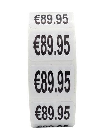 Prijs stickers €89,95 500 stk - 2 cm Breed x 1,5 cm Hoog