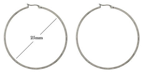 Statement Oorbellen - Stainless Steel Hoop Earrings - Zilver - Dia: 25mm