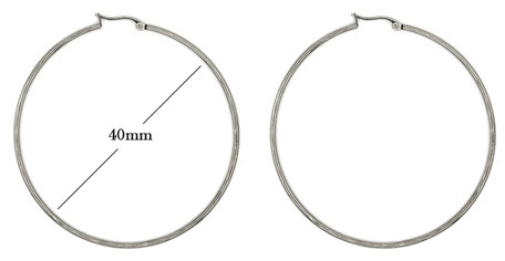 Statement Oorbellen - Stainless Steel Hoop Earrings - Zilver - Dia: 40mm