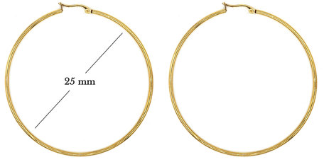 Statement Oorbellen - Stainless Steel Hoop Earrings - Gold - Dia: 25mm