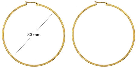 Statement Oorbellen - Stainless Steel Hoop Earrings - Goud - Dia: 30mm