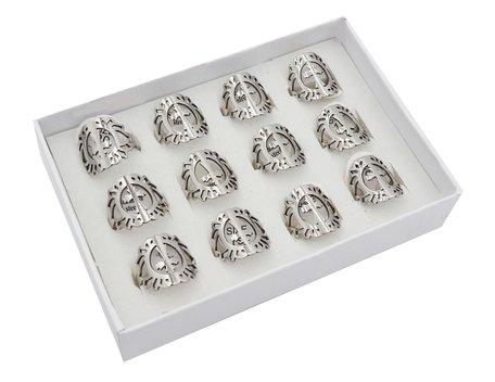 12 RVS Ringen - Kruis - Zilver