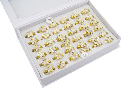 36 RVS Ringen - Vlinder - Holographic -  Goud