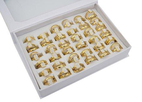 36 RVS Ringen - Dubbel Rings & Zirkonia - Goud
