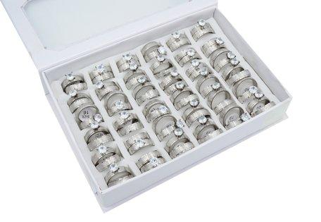 36 RVS Ringen - Dubbel Rings & Zirkonia - Zilver