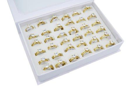 36 RVS Ringen - Zirkonia met Hartjes - Goud