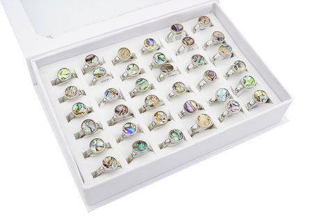 36 RVS Ringen - Holographic Multi Color - Zilver