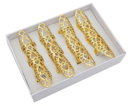 12 RVS Ringen - Hartjes Symbolen - Goud