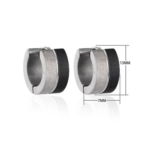 Creolen RVS Oorringen Roestvrij Staal - Zilver & Zwart