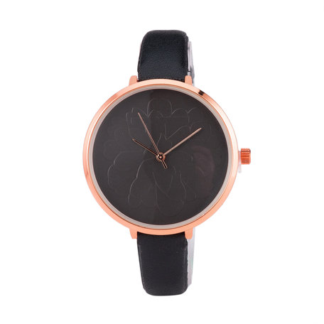 Leren Dames Horloge - Zwart & Rosé