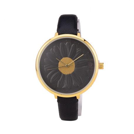 Leren Dames Horloge - Dunne 1 cm Band - Zwart & Goud - Bloemen