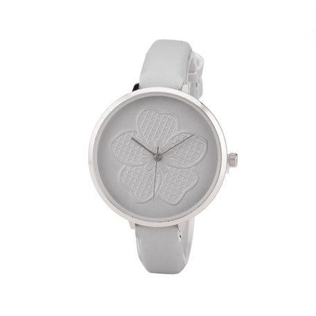 Leren Dames Horloge - Dunne 1 cm Band - Grijs & Zilver - Bloemen