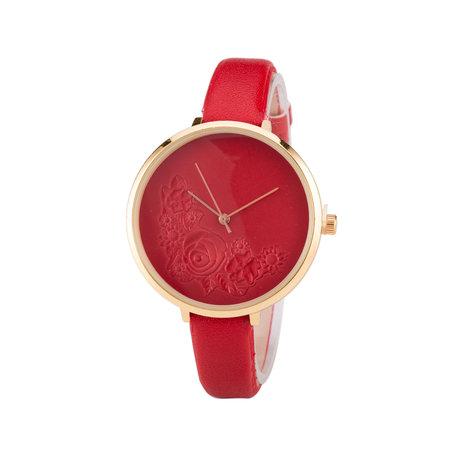 Leren Dames Horloge - Dunne 1 cm Band - Rood & Goud - Bloemen