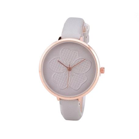 Leren Dames Horloge - Dunne 1 cm Band - Grijs & Rosé - Bloemen
