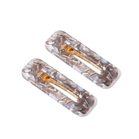 2x Rechthoekige Haarclips met Gouden Klem - Grijs