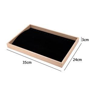 Bracelets & Necklaces Display Presentation - Bamboe Wood & Velvet Inlay - Black