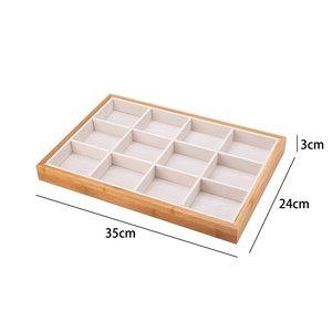 Ringen & Accessoires Display Presentatie Middel - Bamboe Hout & Fluwelen Inleg - Wit