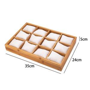 Rings & Accessories Display Presentation Medium - Bamboo Wood & Velvet Inlay - White