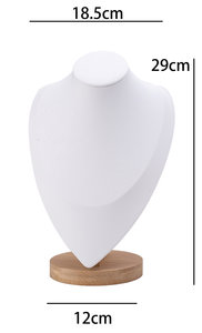 Luxe Ketting Collier Display Presentatie Middel - Bamboe Hout & Kunstleer - Wit