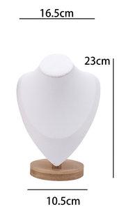 Luxe Ketting Collier Display Presentatie Middel - Bamboe Hout & Kunstleer 23 cm - Wit