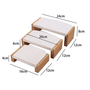 Ringen & Accessoires Display Presentatie Middel - Bamboe Hout met fluwelen afwerking - Wit Beige
