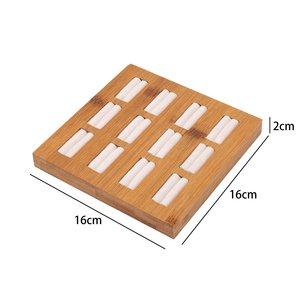 Luxe Ringen & Accessoires Display Presentatie Middel - Bamboe Hout & Fluwelen Inleg - Wit Beige