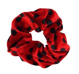 Velvet Scrunchie Dots - Rood & Zwart