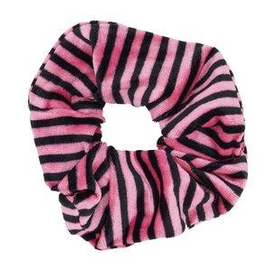 Velvet Scrunchie Gestreept - Roze & Zwart