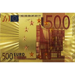 Speelkaarten - Luxe Glans Goud Kleurige Poker Kaarten - €500 biljetten Gekleurd