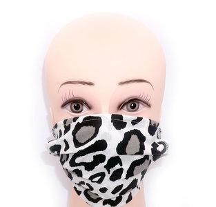 Wasbare mondkapje met neusclip /katoen / Machine Washable Cotton Mask - Tijger print Wit