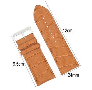 Horlogeband Leer 24mm - Croco Band + Push Pin - Licht Bruin