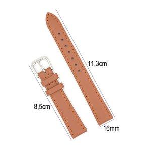 Horlogeband Leer 16mm - Gehechte Rand  + Push Pin - Licht Bruin