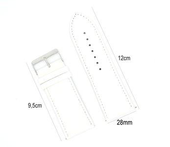 Horlogeband Leer 28mm - Gehechte Rand  + Push Pin - Wit