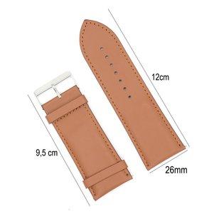 Horlogeband Leer 26mm - Gehechte Rand  + Push Pin - Licht Bruin