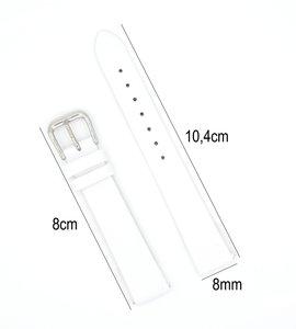 Horlogeband Leer - Met Gladde Oppervlak + Push Pin - 8mm Wit
