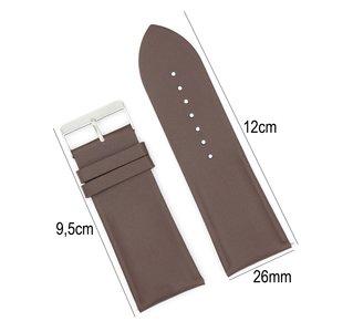 Horlogeband Leer - Met Gladde Oppervlak + Push Pin - 26mm Donker Bruin